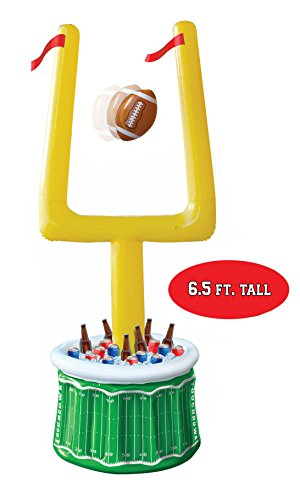 Huge Football Party Inflatable Drink Cooler with Goal Posts and Inflatable Football- Party Decorations (Football Goal Post Decoration)
