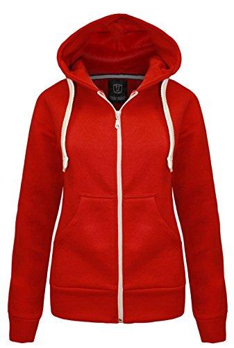 NEW LADIES WOMENS PLAIN HOODIE HOODED ZIP TOP ZIPPER SWEATSHIRT JACKET COAT Red UK 10 / AUS 12 / US 6