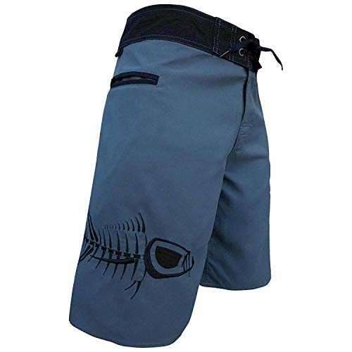 Tormenter Men's 5-Pocket Waterman Fishing Board Shorts (Gray, 28)