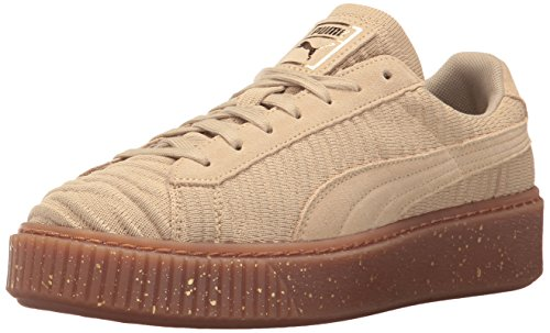 PUMA Women's Basket Platform Sneakers - Safari-Whisper White (Large Image)