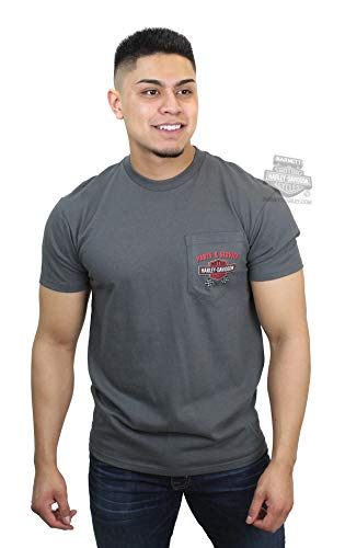 - Harley-Davidson Mens Chrome Clutch Power Pocket Charcoal Short Sleeve T-Shirt (X-Large)