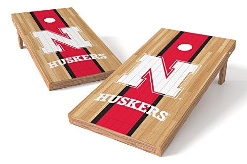 Wild Sports NCAA College Nebraska Cornhuskers 2' x 4' Hardwood Authentic Cornhole Game -