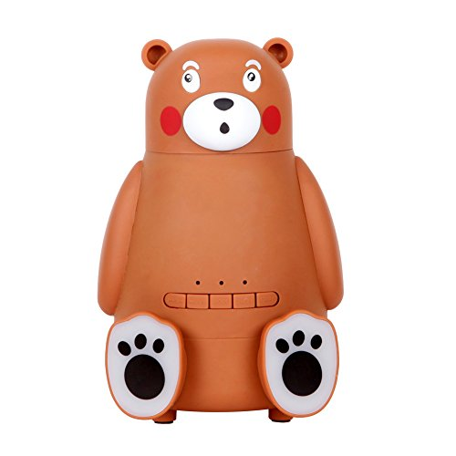 100ml Portable Brown Cute Bear Cool Mini Mist Humidifier,7 Colorful Light on feet, Wireless Bluetooth Speaker 3-in-1 Mini USB Desktop Mist Air Humidifier Speaker with SD Card Slot for Home Office Car by Generic