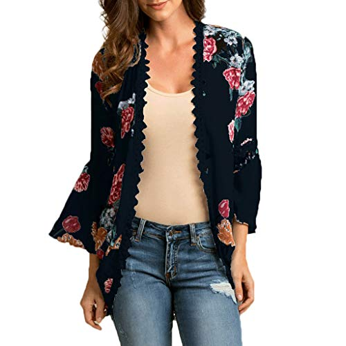 DORIC 2019 New Girls Women's Tops Blouse Chiffon Shawl Print Lace Kimono Cardigan Cover Up Flare Sleeve Beachwear Black ()