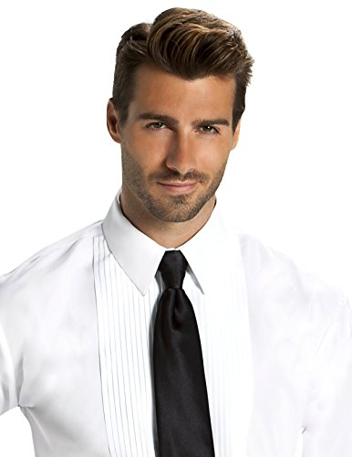 (Men's Fitted 1/4 inch Pleated Tuxedo Shirt, Laydown Collar)