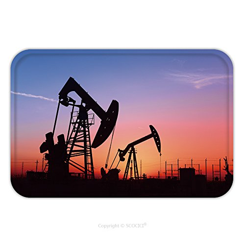 Jet Basic Unit (Flannel Microfiber Non-slip Rubber Backing Soft Absorbent Doormat Mat Rug Carpet Pumping Unit Is Working In Oil Field Of The Sunset 559732402 for Indoor/Outdoor/Bathroom/Kitchen/Workstations)