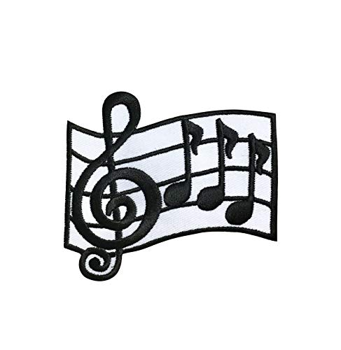 Music Bar/Measure - G Clef/Notes - Black/White - Iron on Applique/Embroidered Patch