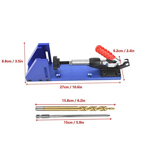 Woodworking Tool Pocket Hole Drilling Jig with Toggle Clamp and Step Drill Bit