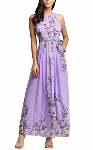 Purple Floral Dress - Ruiyige Womens Sleeveless Halter Neck Vintage Floral Print Maxi Dress 01-purple X-Large