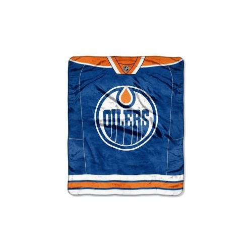 Officially Licensed NHL Edmonton Oilers Jersey Plush Raschel Throw Blanket, 50