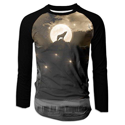 Howling Wolf Golden Moon Mens Raglan Tshirt Funny Undershirt Long Sleeve Workout Jersey Shirt Small Denim Sports Valance