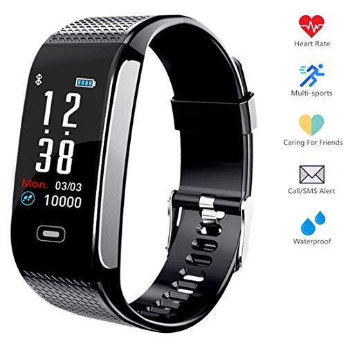 Fitness Tracker HR, Activity Smart Bracelet Wristband with Pedometer Heart Rate Monitor Step Calorie Distance Track Waterproof IP67 Call SMS SNS Remind for Men Women Kids Compatible with Android iOS (Best Android Family Tracker)