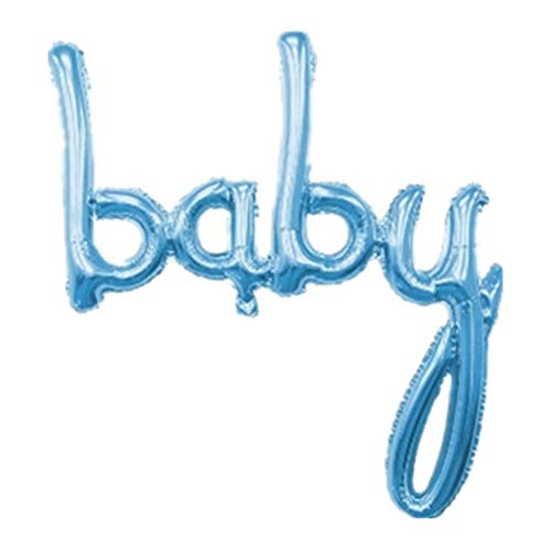 Mapple Balloon Large Script Baby Foil Balloon Baby Shower Balloon,Pastel Blue
