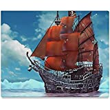 """Pirate Sailing Ship Canvas Print Canvas Art Print (Frame Also Included)- Measure Size: 20"""" x 16""""(Large)"""