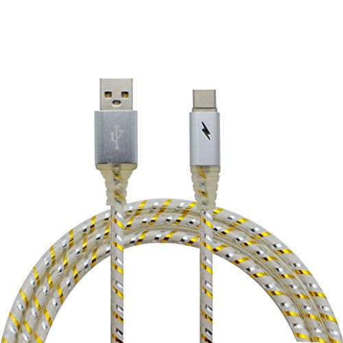 Sunfei LED Lights Type-C Cable USB 3.1 Sync Data Faster Charger Cable for Android (Silver)