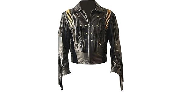 Mens Western Cowboy Real Leather Jacket Fringed & Boned Black at Amazon Mens Clothing store: