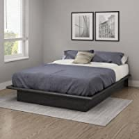 South Shore Basics Full Platform Bed with Molding | 10H x 75L x 54W (Full, Gray Oak)