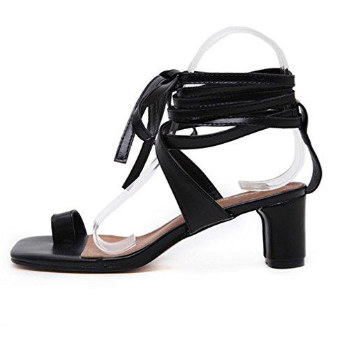Xianshu Clip Las pie Mujeres Zapatos Sandalia Tacón de Alto del Cruzadas del Sandalias Dedo Negro Bloque del Tobillo del del de del Verano PwnPzq8xrY