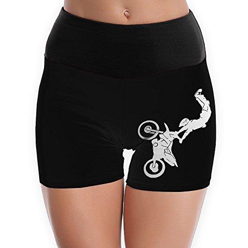 TTBYOGA Motocross Motor Bike Womens Power Flex Yoga Shorts Sport Workout Running Short - Contour Motorcycle Jacket Black