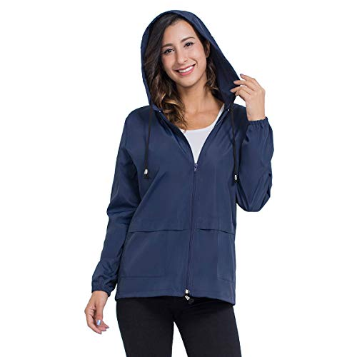 - Women Rain Jacket Hooded, Zipper Waterproof Active Outdoor Windbreaker Raincoats Lightweight XXL Navy Blue