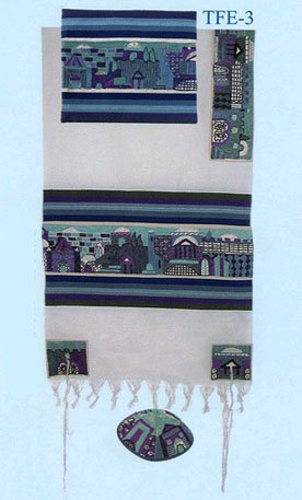 (Beautiful Kosher Cotton-Woven Blue Tallit (Prayer Shawl), Kippah, and Matching Talit Bag; Hand-Embroidered Panorama of Jerusalem; Sephardic Style; Tallit Size 21