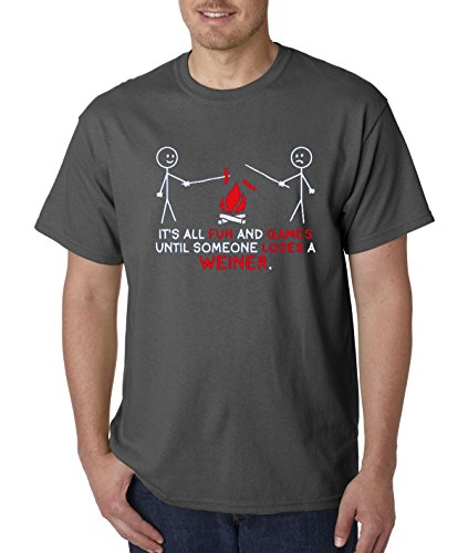 New Way 468 - Unisex T-Shirt It's All Fun And Games Until Someone Loses A Weiner 2XL Charcoal - Lose Game T-shirt