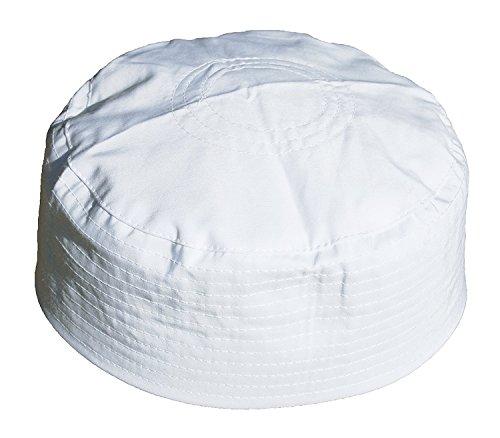 (Plain White Flat Top Simple Stitch Design Fabric Prayer Skull Cap Muslim Kofia Peci Cap (X-Large/23.25-23.5-inch))