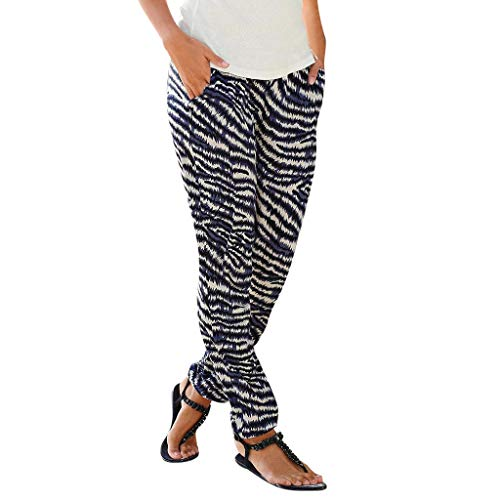 JOFOW Womens Pants Zebra Print Elastic High Waist Loose Comfy Straight Leg Trousers Striped Fashion Long Ankle Pencil Pants (S,Multicolored) -