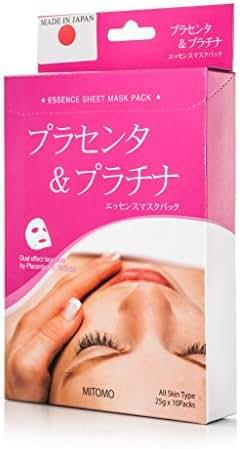 MITOMO Face Sheet Mask High Quality. Made in Japan. Pack of 10 (25g x 10) (Placenta + Platinim)