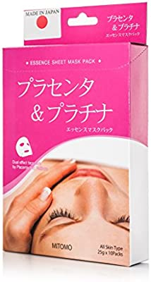 MITOMO Face Sheet Mask High Quality. Made in Japan. Pack of 10 (25g x 10) (Placenta + Platinim)