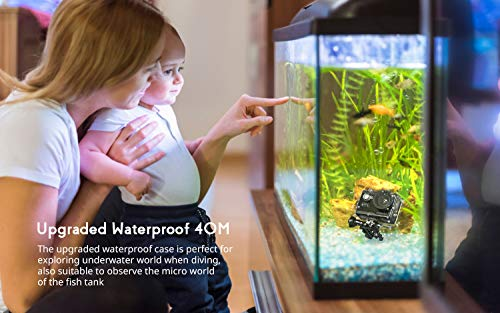 COOAU 4K 20MP Wi-Fi Action Camera External Microphone Remote Control EIS Stabilization Underwater 40M Waterproof Sport Camera Time Lapse with 2X1200mAh Batteries and 20 Accessories