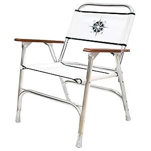 Amazon Com White Folding Deck Chair W Compass Logo