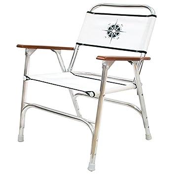 White Folding Deck Chair W/ Compass Logo Marine Patio Dock Boat