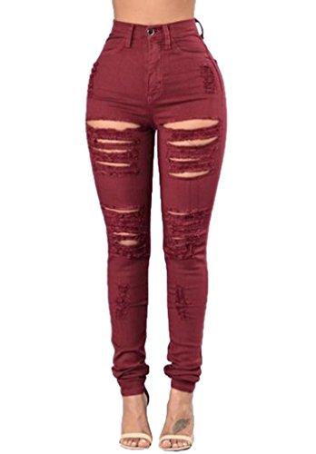 YiLianDa Femmes Taille Haute Elastique Pantalon Skinny Stretch Trou Leggings Crayon Dchir Casual Rouge