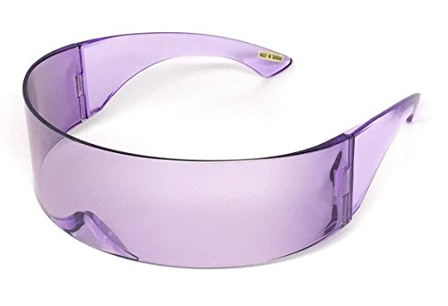 WebDeals - Futuristic Wrap Around Monoblock Cyclops Shield Sunglasses… (Solid - Glasses Funky Mens