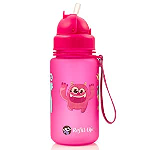 MONSTRAW'S 12 oz Straw Bottle | Water Bottle Sippy Cup For Kids With Straw (Pink)