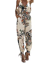 NANYUA Women Floral Spaghetti V Neck Sleeveless Side Split Loose Jumpsuit with Pocket