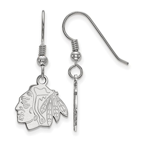 Chicago Blackhawks Small (1/2 Inch) Dangle Earrings Wire (Sterling (Chicago Blackhawks Sterling Silver Earrings)