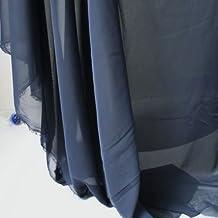 "Chiffon Fabric Sheer Bridal Wedding Dress Lining Fabric Skirt Party Decoration Photographic Backdrop 60"" Wide 5 Yards / lot (navy blue)"