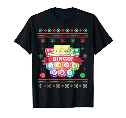 Jackpot Bingo Card Game Ugly Christmas T-shirt