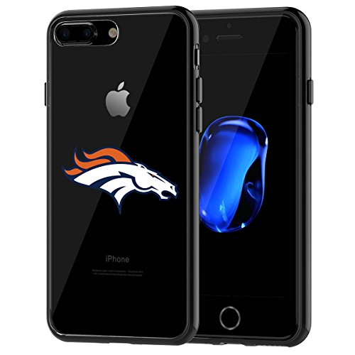 Broncos iPhone 7 Plus Tough Case, Shock Absorption TPU + Translucent Frosted Anti-Scratch Hard Backplate Back Cover for iPhone 7 Plus- Black