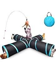 DaZone Cat Tunnel Toy, Upgraded Collapsible 4 Way Pet Play Tunnel Tube Storage Bag & Cat Toys Feather Wand, Large Cats, Dogs, Rabbits, Guinea Pig, Indoor/Outdoor Use