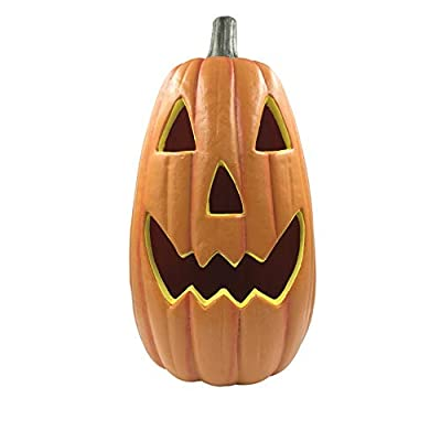 ROBDAE Flameless Candles Halloween Lantern Hat with Pumpkin Lights Funny Pumpkin Bucket Dress Up Props Arrangement Event Venue Lights for Halloween Decoration (Color : Orange, Size : 56x28cm)