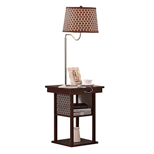 Mid Century Modern Nightstand, Shelves & USB Port Combination - Bedside Table with LED Floor Lamp Attached - End Table for Living Room Sofas - Brown ()
