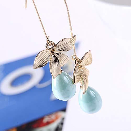 18K Gold Plated Leaf Flower Pearl Drops Charm Dangle Dorp Hook Earrings For Women Girls Jewelry