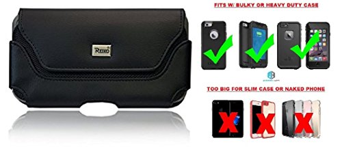 Reiko Horizontal Case, Premium Leather Pouch Belt Case Holster Belt Clip Fits [iPhone 6 6S 7 8 (4.7'') & Samsung S5 S6 S7 S8] Fit with Waterproof/Defender/Thick Heavy Duty (Leather Carring Case)