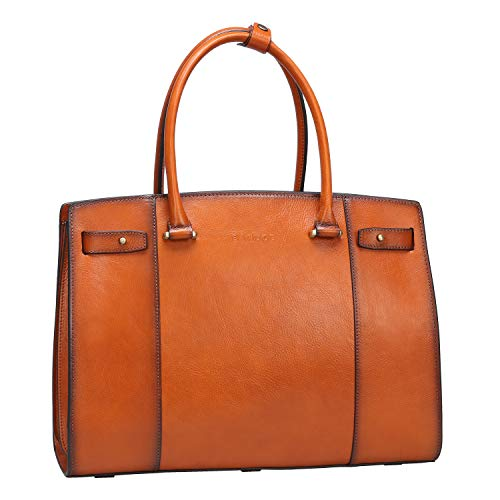 (Banuce Vintage Full Grains Italian Leather Handbag for Women Briefcase a4 Business Bag Tote Attache Case 13 Inch Laptop Case Ladies Large Capacity Handle Purse )