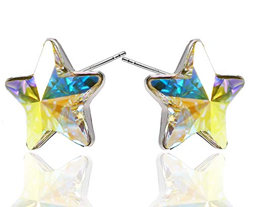 (Christmas Star' Stud Earrings Royal Crystals Sterling Silver 925 and Crystals from Swarovski for Women Girls Aurora Borealis)