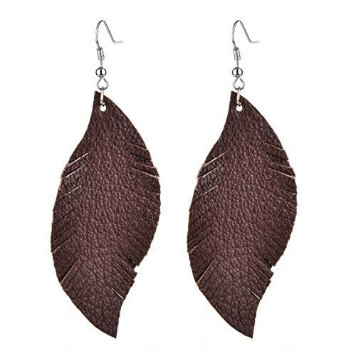 Genuine Leather Feather Leaf Earrings-Bohemia Lightweight Dangle Drop Earrings for Women