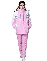 Tortor 1Bacha Women Lady Windproof Waterproof Hooded Ski Jacket Snow Pant Set